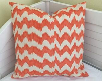 Quadrille China Seas Jolo Suncloth in Orange and Tint Indoor Outdoor Designer Pillow Cover - Square, Euro or Lumbar Sizes