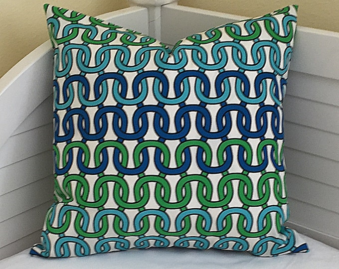 Trina Turk for Schumacher Loop de Loop in Azure Indoor Outdoor Pillow Cover  - Square, Euro and Lumbar Sizes
