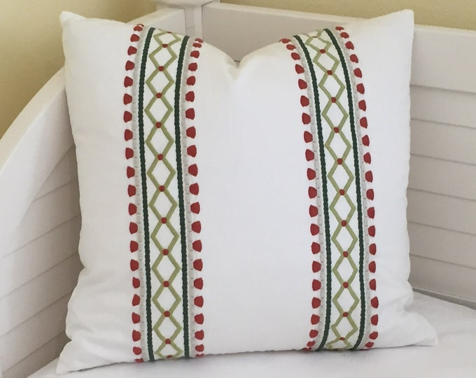 Robert Allen Madcap Cottage Viva Acapulco in Rhubarb Designer Pillow Cover - Square, Euro, Lumbar and Body Pillow Sizes
