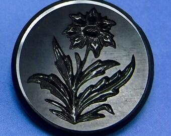 Victorian Button Antique Button Glass Button Black Floral Button  391