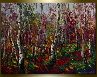 Autumn Birch Landscape Painting Tree Forest Oil on Canvas Textured Palette Knife Modern Original Art 12X16 by Willson Lau