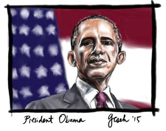 President Barack Obama, A4 Fine Art Portrait Drawing Print