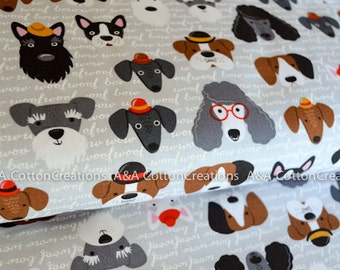 Quilting Cotton, VINTAGE by Pink Light Design from Classy Canines, Fabric, Grey Fabric, Dog fabric, Boy Fabric