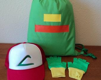 Ash Ketchum Trainer  Drawstring Bag,  Hat and Gloves set  Halloween costume Pokemon Choose your Size