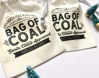 Christmas Bag, Christmas Favor Bag, Christmas Gift Bag, Santa Sack, Bag of Coal, Lump of Coal, Kids Stocking Stuffer, Christmas for Kids