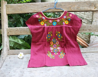 L-XL Bohemian Embroidered Top - Red Wine