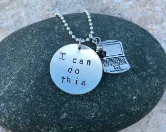 I CAN DO THIS hand stamped pendant with your choice of charm