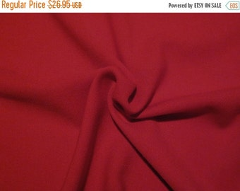 ON SALE Cherry Red Gabardine Twill Wool Fabric--One Yard