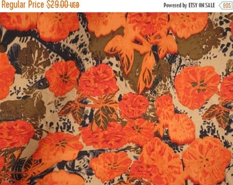 ON SALE Stunning Orange on Brown Abstract Floral Print Pure Silk Fabric--One Yard
