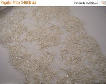 """ON SALE Ivory Beaded French Alencon Lace Trim 11"""" Wide--One Yard"""