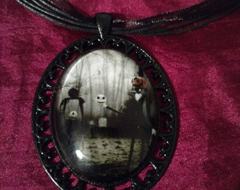 Large Handmade Jack the Pumpkin King cabochon Necklace