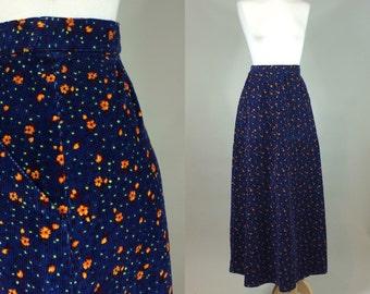 70s Corduroy Maxi Skirt / Homemade OOAK 70s Maxi Skirt / Vintage 1970s Corduroy Skirt / 70s Vintage Maxi Skirt / 1970s Corduroy Skirt