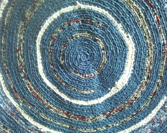 "Round Crocheted rag rug ~ 39"" Rug ~ Primitive Rug ~ Colonial Blue Rug ~ Farmhouse Rug ~ Reversible ~ Rustic Country Rug ~ Washable n Dryable"