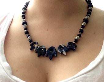 OOAK Gemstone Necklace, Sodalite Stone Beads, Lapis Lazuli, Lapis Stone Beads, Silver Plated Spacers, Crystal Spacers