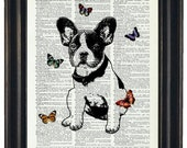 BOGO Sale DOG Art Print Dictionary Art Print French Bulldog With Butterflies Art Print Upcycled Wall Art HHP Original Concept and Design