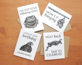 greeting card set: bee, beaver, frog, buck, possum, hawk, bear, cat, support, friendship, love, birthday, get well