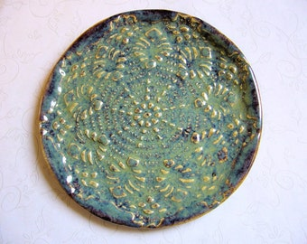 Lustrous Jade Pottery Doily Dish or Spoon Rest