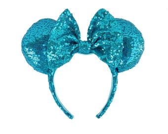 Turquoise Full Sequin Mickey Mouse Ears Minnie Mouse Ears Glitter Mickey Ears Sequin Mickey Ears