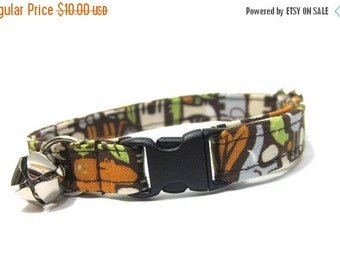 ON SALE Cat Collar- Zoology in Brown