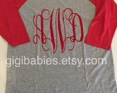 Womens raglan shirt with monogram by gigibabies