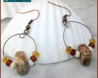 Copper Brown Beaded Hoop Earrings, Beaded Boho Earrings, Gypsy Tribal Style Jewelry, Gemstone Earrings, Brown Amber Earrings, Copper Jewelry