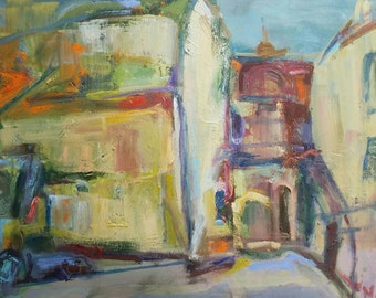 Vilnius Uzupis Lithuania- Original oil painting on canvas- 16×20 inches- not framed