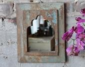 Mirror Reclaimed Vintage Indian Door Panel Wall Hanging Art Distressed Seafoam and Blue Moroccan Mirror Mediterranean Decor Turkish Interior