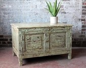 Vintage Acid Washed Low Cabinet Media Stand Bedside Table End Table Indian Furniture Distressed Green Industrial Beach