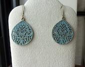 Morrocan Style Ornate Teardrop Earrings with Verdigris Patina
