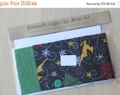 final CLEARANCE DIY Coffee Cup Sleeve Sewing Kit - Christmas Reindeer and Green Snowflakes - Ready to Ship