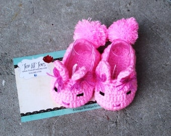 Bunny booties - Bunny Baby Booties - Rabbit Baby Booties - Bunny Baby Slippers - Crochet Bunny Slippers - Crochet Rabbit Slippers - USA made