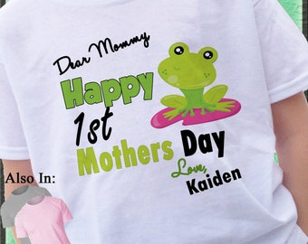 Happy 1st Mothers Day Shirt with cute Frog -First Mothers Day Shirt - Personalized mothers day shirt - Baby mothers day - Cute Green Frog