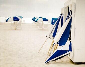 Beach Print, Large Wall Art, Photography by Cindy Taylor, Fine Art Photography, Coastal Home Decor, Indigo, Ivory, Beach Umbrellas