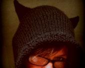 Black Cat Good Luck Kitty Eared Hood Cowl Hand Knit Warm Soft Wool Acrylic Blend