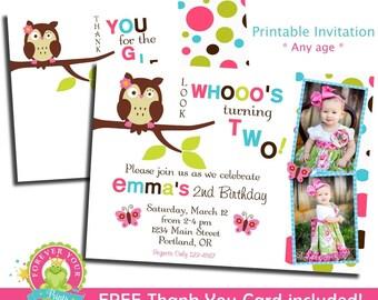 Owl Birthday Invitation / Birthday Invitation / Owl Party Invite / Owl Invitation / Owl Party Invitation / 1st Birthday Invitation