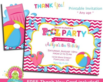Pool Party Invitation / Pool Birthday Invitation / Kids Pool Party / Pool Party Printables / Summer Birthday Invitation / Pool Party Invite