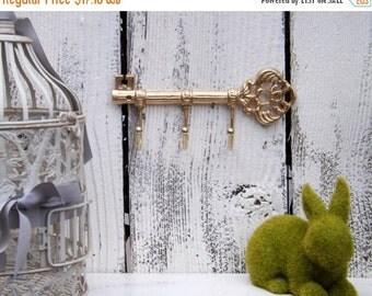 SUMMER SALE GOLD Key Hook  / Wall Hook / Skeleton Key Rack /Iron Wall Hook /  Shabby Chic Decor