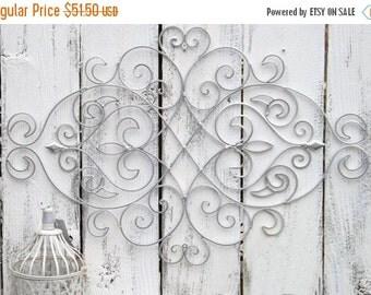 SILVER  Fleur De Lis / Wrought Iron  / Wall Decor / Wrought Iron Wall Decor / Shabby Chic Decor