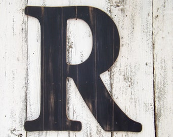 "24"" Ex Large Letter ~ BLACK  Faux Wood Plank Finish~Letters A~Z~Large Wall Letter~Letter R"