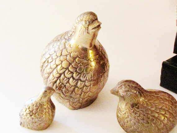 Vintage Brass Quail Family, Partridge Birds, Set of Three, Hollywood Regency, Brass Decor