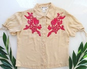 90s floret cream red floral sequied short sleeve blouse size M