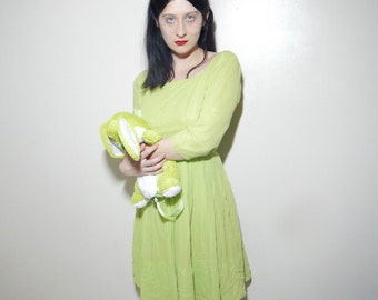Vtg 60s baby doll chartreuse green chiffon silk dress size small