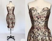 Victor Costa Strapless Cocktail Dress // 1980s Vintage Metallic Brocade Formal Dress // Small