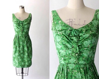 1960s Brushed Cotton Floral Day Dress // 60s Vintage Short Green Sleeveless Dress // Small