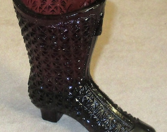 Fenton amethyst coloured high Boot