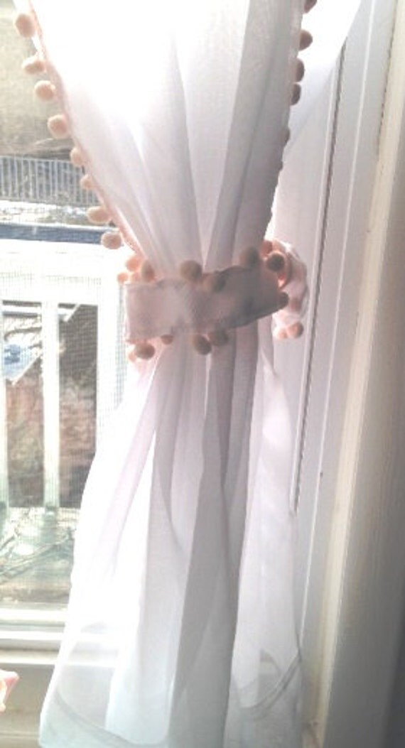 Sale Sheer Curtain With Light Pink Pom Poms Double Sided