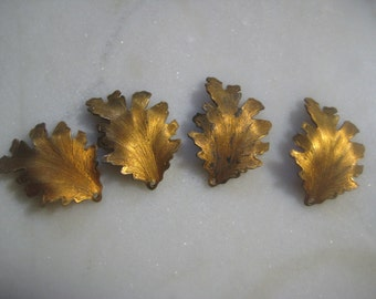 Vintage Leaf Charms, 1960s Detailed Textured Leaves, Unplated Dapt Brass Earring Drops, Jewelry Findings, Integrated Loop, 28x20mm, 4 pcs.