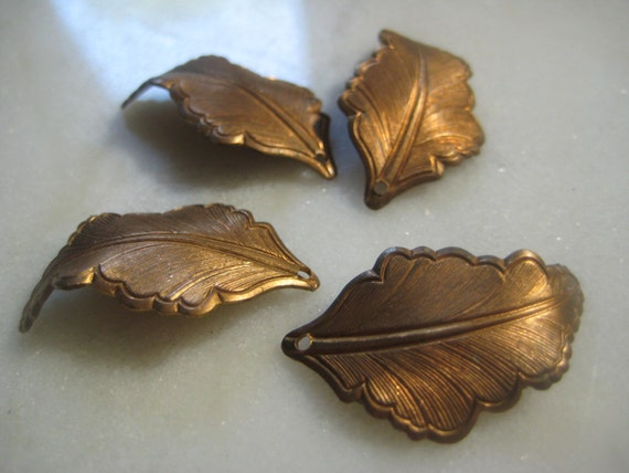 Vintage Leaf Charms / Drops; Detailed Copper Tone, Dapt ...