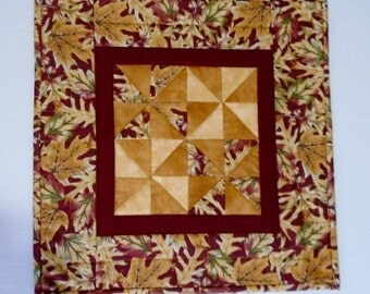 Quilted Table Topper Rustic Fall Leaves, Autumn Quilted Table Runner, Thanksgiving Table Quilt, Pinwheel Table Topper, Gold Burgundy Tan