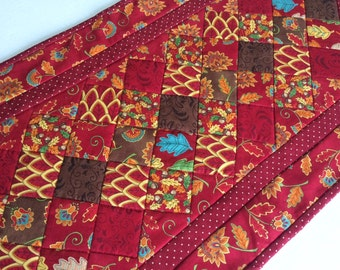 Quilted Table Runner,  Fall Autumn Quilted Table Topper, Fall Leaves, Patchwork Table Runner in Fall Colors